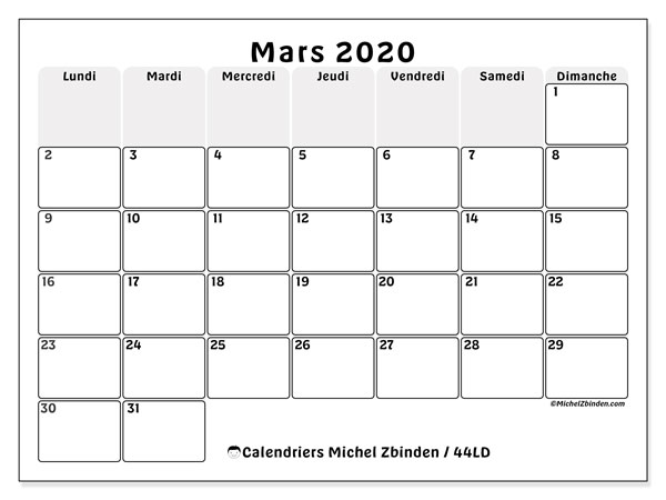 Calendriers mars 2020 (LD).  44LD.