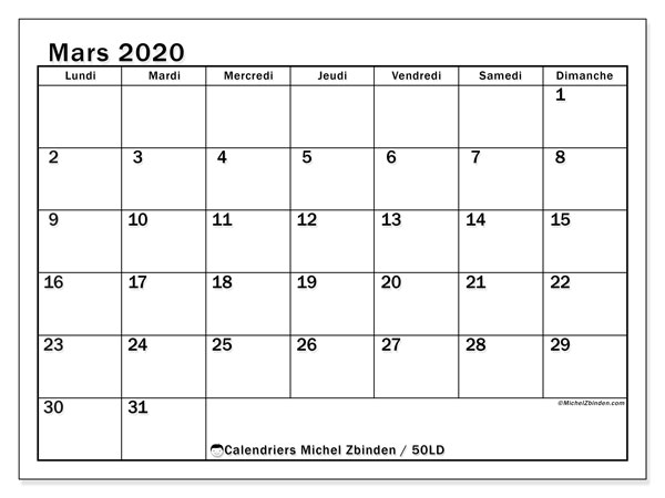 Calendriers mars 2020 (LD).  50LD.