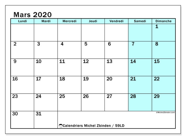 Calendrier mars 2020, 59LD. Calendrier mensuel à imprimer gratuit.