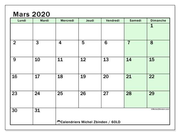 Calendrier mars 2020, 60LD. Planificateur à imprimer gratuit.