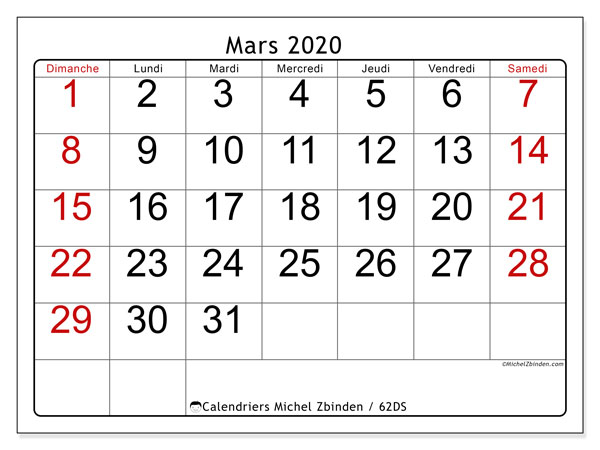 Calendriers mars 2020 (DS).  62DS.