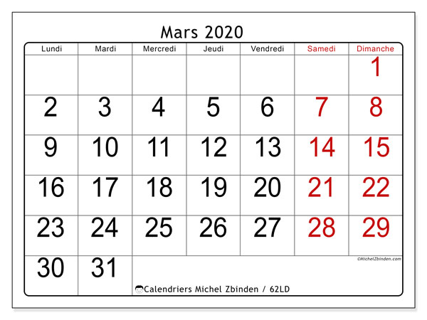 Calendriers mars 2020 (LD).  62LD.