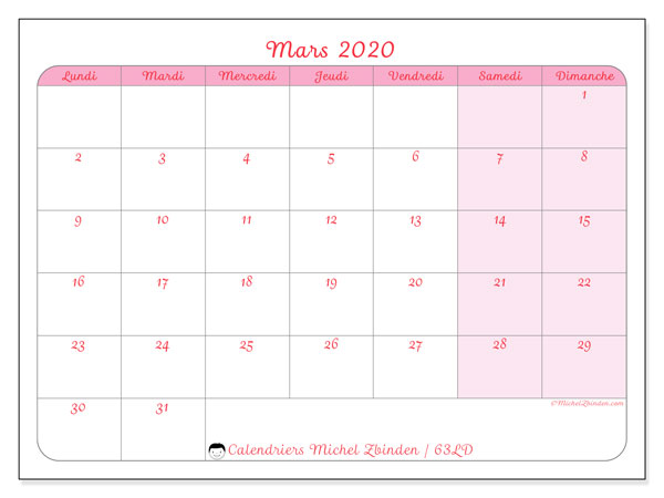 Calendriers mars 2020 (LD).  63LD.