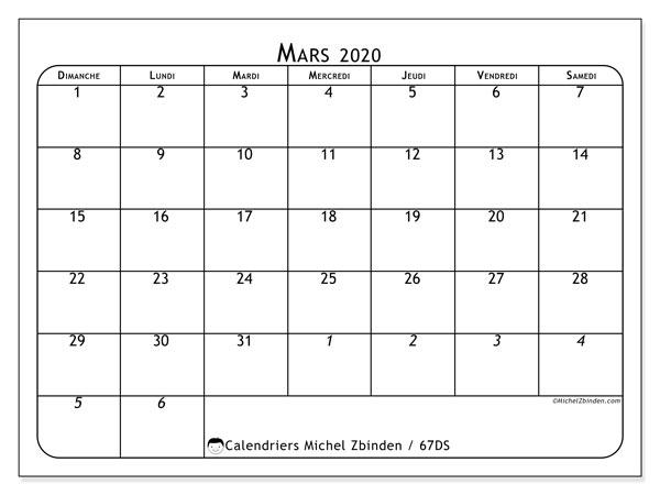 Calendrier mars 2020, 67DS. Calendrier à imprimer gratuit.