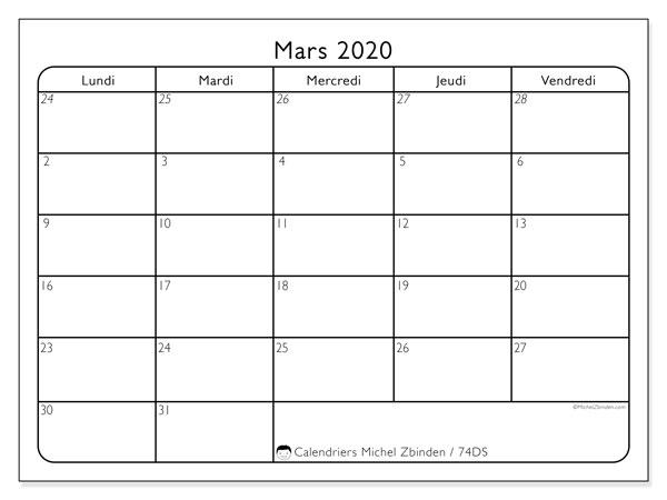 Calendrier mars 2020, 74DS. Calendrier à imprimer gratuit.