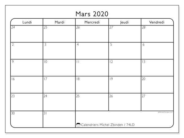 Calendriers mars 2020 (LD).  74LD.