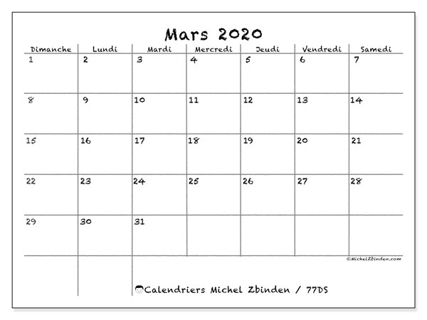 Calendriers mars 2020 (DS).  77DS.