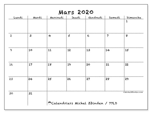 Calendriers mars 2020 (LD).  77LD.