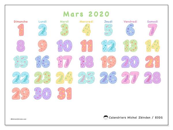 Calendrier mars 2020, 83DS. Calendrier pour le mois à imprimer gratuit.