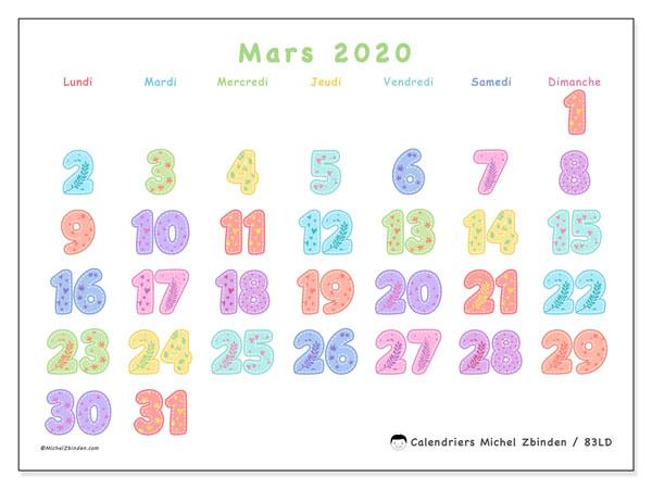 Calendrier mars 2020, 83LD. Organisateur à imprimer gratuit.