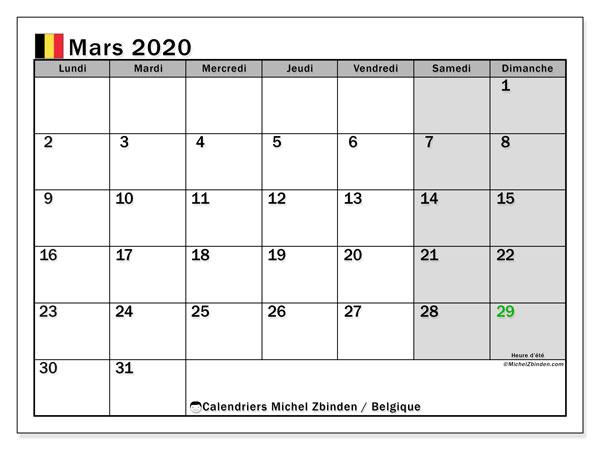 Calendrier mars 2020, avec les jours fériés de la Belgique. Calendrier Fêtes et jours fériés à imprimer gratuit.