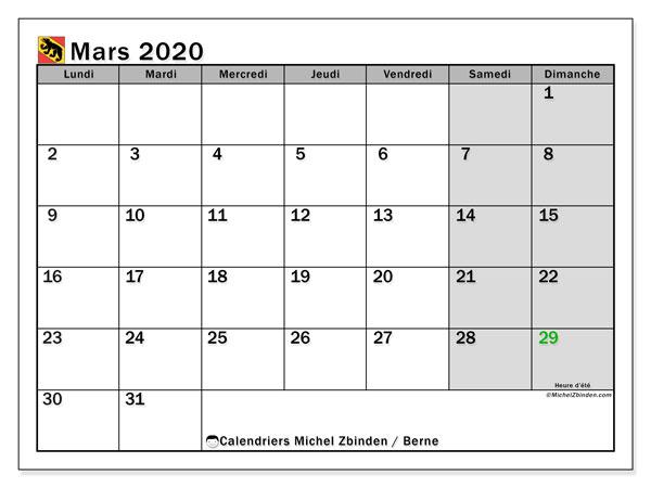 Calendrier mars 2020, avec les jours fériés du Canton de Berne. Calendrier à imprimer gratuit avec jours fériés.