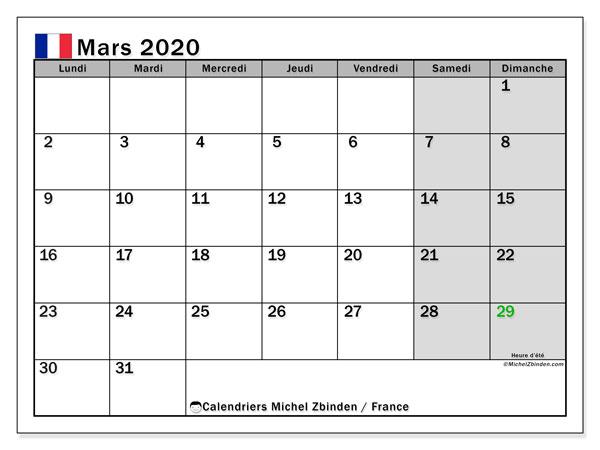 Calendrier mars 2020, avec les jours fériés de la France. Calendrier à imprimer gratuit avec jours fériés.
