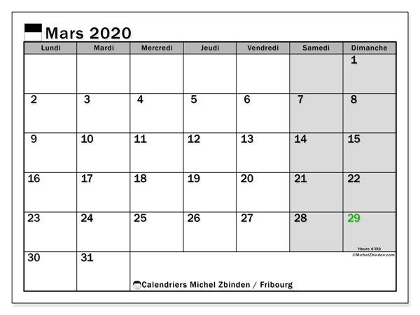 Calendrier mars 2020, avec les jours fériés du Canton de Fribourg. Calendrier Fêtes et jours fériés à imprimer gratuit.