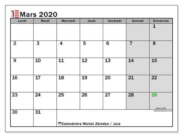 Calendrier mars 2020, avec les jours fériés du Canton du Jura. Calendrier à imprimer gratuit avec jours fériés.