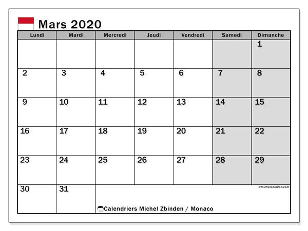 Calendrier mars 2020, avec les jours fériés de Monaco. Calendrier à imprimer gratuit avec jours fériés.