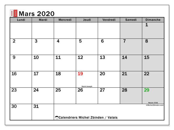 Calendrier mars 2020, avec les jours fériés du Canton du Valais. Calendrier Fêtes et jours fériés à imprimer gratuit.