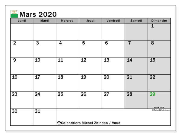Calendrier mars 2020, avec les jours fériés du Canton de Vaud. Calendrier à imprimer gratuit avec jours fériés.