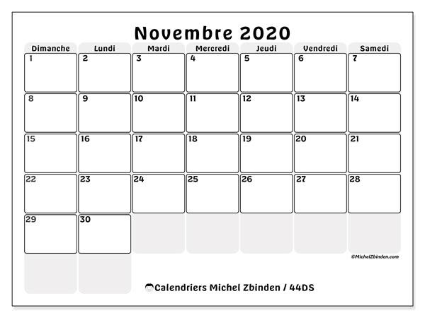 Calendrier novembre 2020, 44DS. Calendrier mensuel à imprimer gratuit.