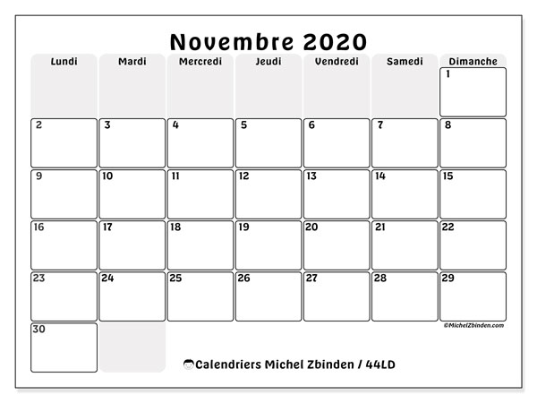 Calendrier Gratuit 2020 A Imprimer.Calendrier Novembre 2020 44ld Michel Zbinden Fr