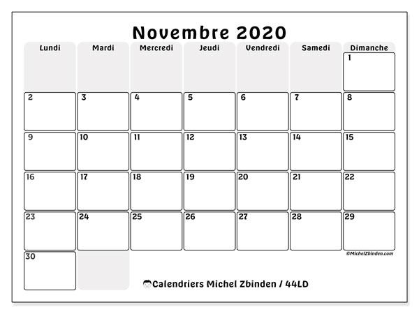 Calendrier novembre 2020, 44LD. Calendrier mensuel à imprimer gratuit.