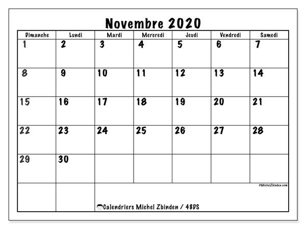 Calendrier A Imprimer Novembre 2020.Calendrier Novembre 2020 48ds Michel Zbinden Fr