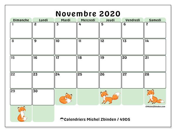 Calendrier novembre 2020, 49DS. Calendrier gratuit à imprimer.