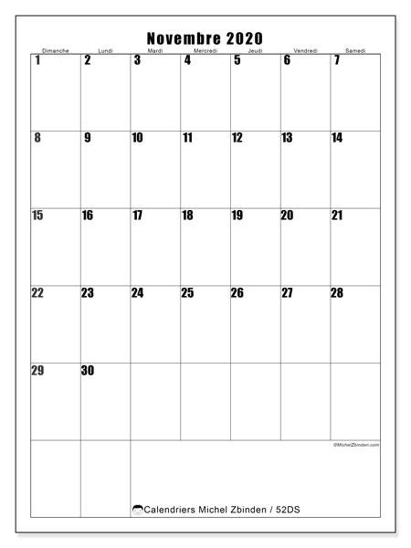 Calendrier novembre 2020, 52DS. Planificateur à imprimer gratuit.