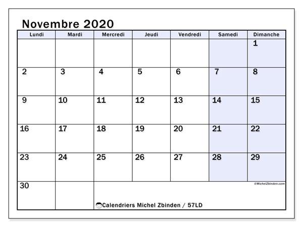 Calendrier novembre 2020, 57LD. Calendrier imprimable gratuit.