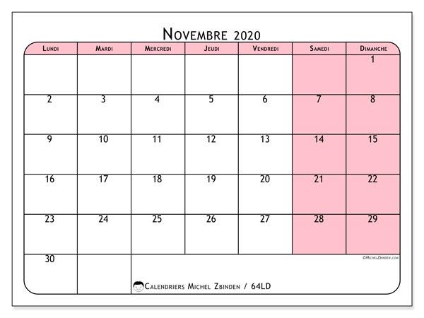 Calendrier novembre 2020, 64LD. Organisateur à imprimer gratuit.