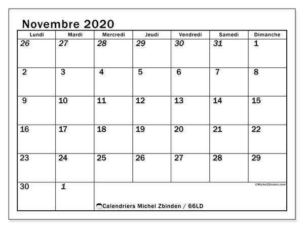 Calendrier novembre 2020, 66LD. Calendrier imprimable gratuit.