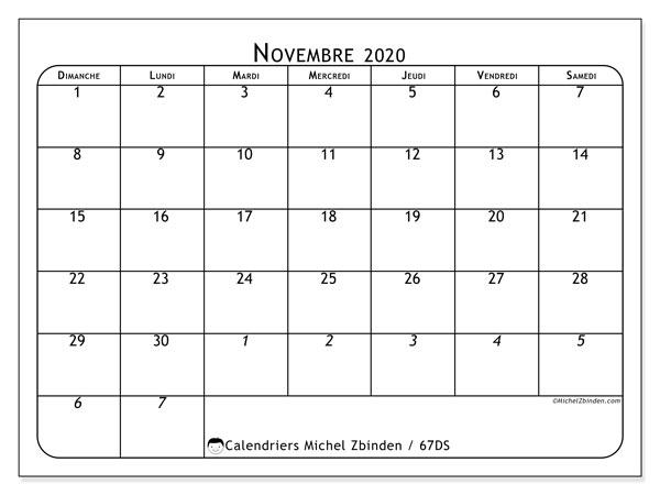 Calendrier novembre 2020, 67DS. Calendrier à imprimer gratuit.