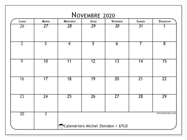 Calendrier novembre 2020, 67LD. Calendrier imprimable gratuit.
