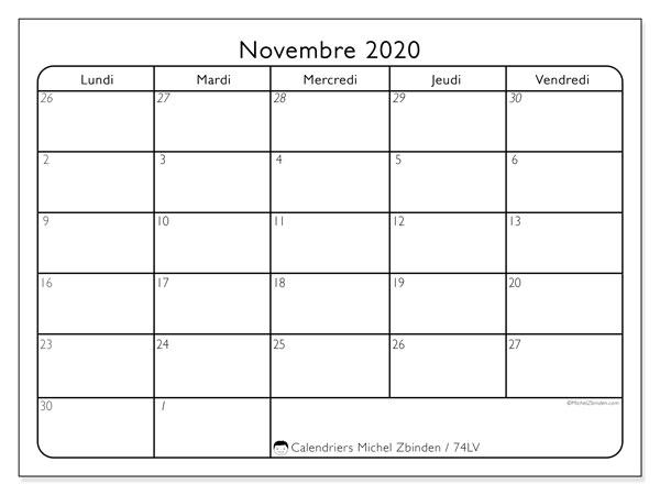 Calendrier A Imprimer Novembre 2020.Calendrier Novembre 2020 74lv Michel Zbinden Fr