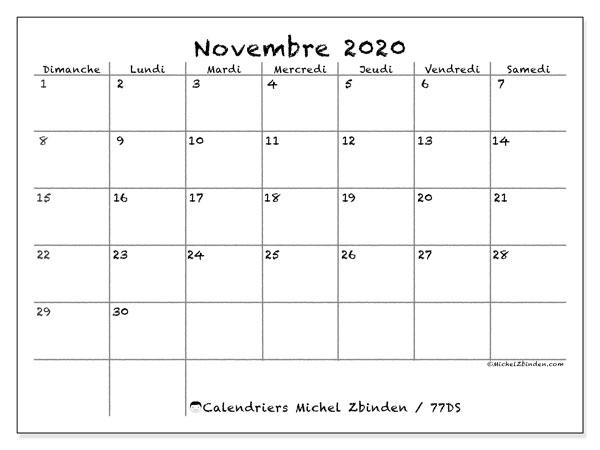 Calendrier novembre 2020, 77DS. Calendrier pour le mois à imprimer gratuit.