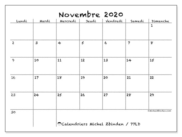 Calendrier Novembre 2020.Calendrier Novembre 2020 77ld Michel Zbinden Fr