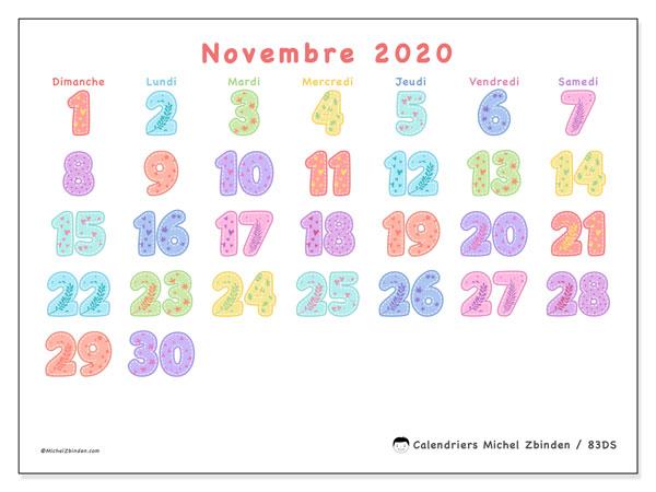 Calendrier novembre 2020, 83DS. Planificateur à imprimer gratuit.