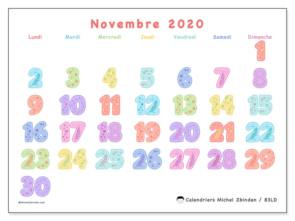 Calendrier novembre 2020, 83LD. Calendrier à imprimer gratuit.