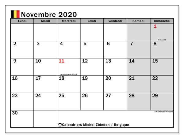 Calendrier novembre 2020, avec les jours fériés de la Belgique. Organisateur à imprimer gratuit.
