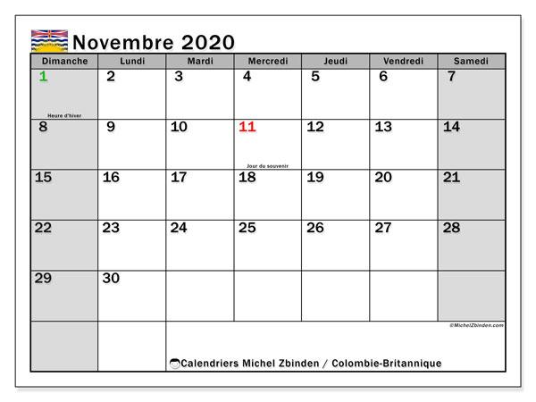 Calendrier A Imprimer Novembre 2020.Calendrier Novembre 2020 Colombie Britannique Canada