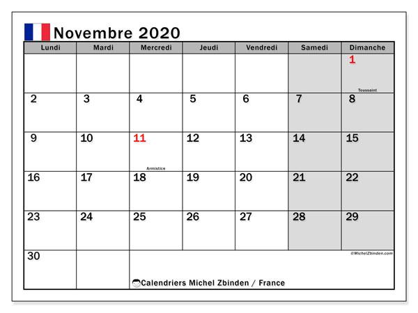 Calendrier novembre 2020, avec les jours fériés de la France. Calendrier à imprimer gratuit.