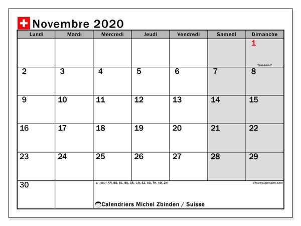 Calendrier novembre 2020, avec les jours fériés de la Suisse. Calendrier à imprimer gratuit avec jours fériés.