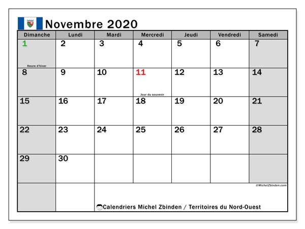 Calendrier Novembre 2020.Calendrier Novembre 2020 Territoires Du Nord Ouest Canada