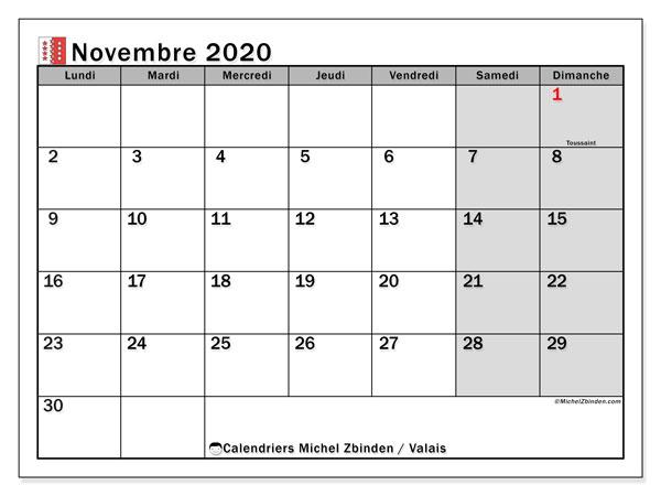 Calendrier novembre 2020, avec les jours fériés du Canton du Valais. Calendrier à imprimer gratuit avec jours fériés.