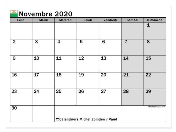 Calendrier novembre 2020, avec les jours fériés du Canton de Vaud. Calendrier Fêtes et jours fériés à imprimer gratuit.