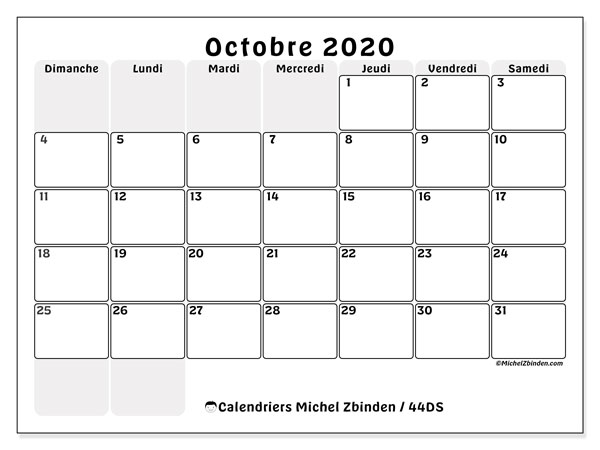 Calendriers octobre 2020 (DS).  44DS.