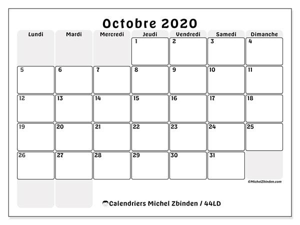 Calendrier octobre 2020, 44LD. Calendrier pour le mois à imprimer gratuit.