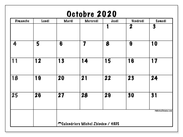 Calendriers octobre 2020 (DS).  48DS.