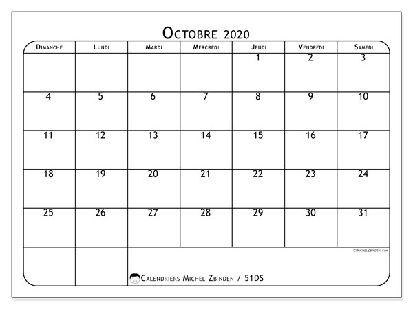 Calendriers octobre 2020 (DS).  51DS.