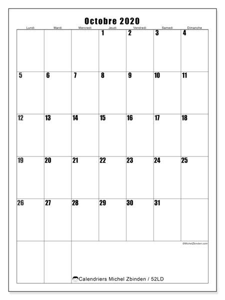 Calendrier octobre 2020, 52LD. Calendrier à imprimer gratuit.